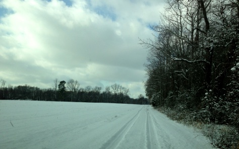 Snowy lane into Menokin.