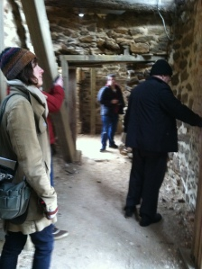 Students explore basement of the Menokin ruin.
