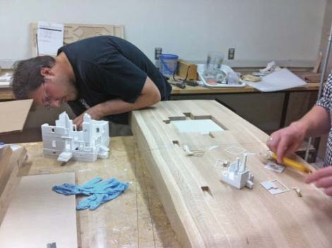 Carmine and Alex preparing for a preliminary fit-out for lighting tests and final assembly.