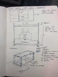 Sketch [by Alex] of the overall construction strategy for the site model, its base, and the Plexiglass encasement.