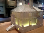 The lighting of the model helps illustrate how the interior systems of The Menokin Project work together.