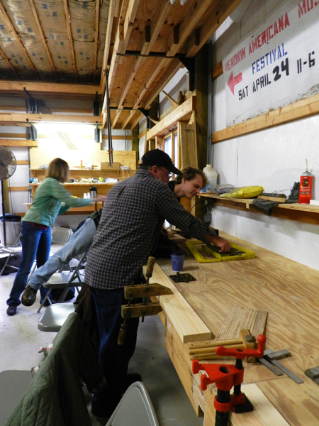Students claimed a spot at the work bench to put their chiseling skills to the test. The assignment involved....