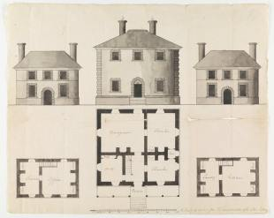 Pen and Ink Plan for Menokin c. 1769. Courtesy of the Virginia Historical Society.