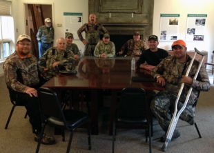 Archery Hunters gather after lunch.