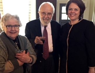Dr. Dunn and his wife, Mary Maples Dunn, are greeted by Sarah Pope, Executive Director of Menokin.