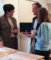 Trustee Rosemary Basile King explains the Menokin landscape to Tod and Barry Salisbury.