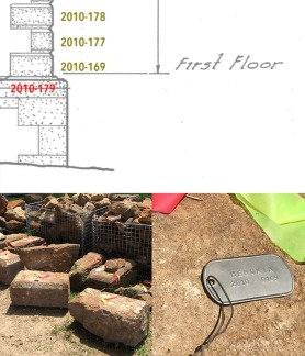6/30/15 - This annotated drawing of the house shows how the stones are being tagged and numbered. This will allow their return to the proper place in the structure.