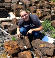 6/25/15 - Bethany found a voussoir on one of the pallets today, which is a critical piece of Menokin's window frames.