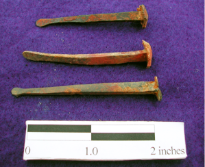 Figure 3: Hand-made nails found archaeologically at James Madison's Virginian plantation, Montpelier.