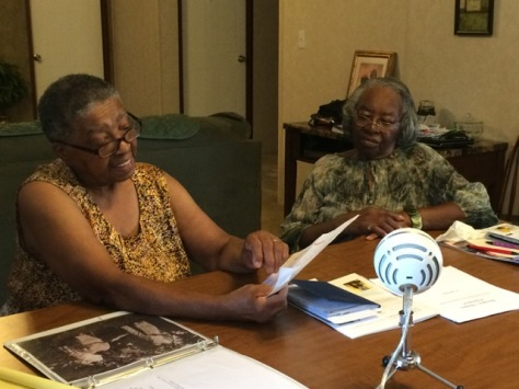 Evelyn Parker and Juanita Wells telling their story.