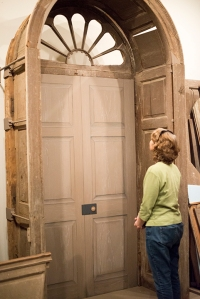 My mom, Sheri, viewing Menokin's front door structure.
