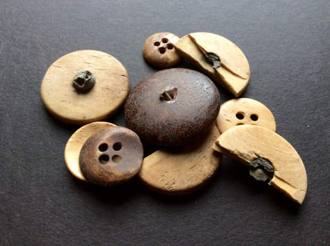 Collection of buttons excavated at Menokin during an archaeological dig in 2009.