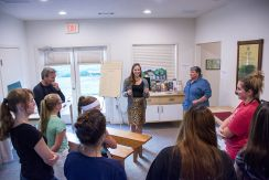Menokin Staff gave a tour of the visitor's center while the kayakers waited on a storm.