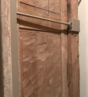 The hidden work of the builders is exposed at Menokin. Here chisel marks tell the story of fitting the front door assembly into a stone opening.