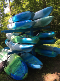 "We have 12 single ""sit on"" kayaks available for rent for the nominal fee of $10/2 hours."